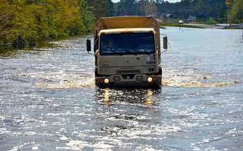 Roughly 1,200 North Carolina roads were flooded by Hurricane Florence in 2018. (North Carolina National Guard)