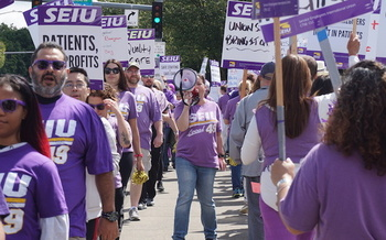 Health-care union members picketed at Kaiser Permanente Clackamas medical campus on June 28. (SEIU Local 49)