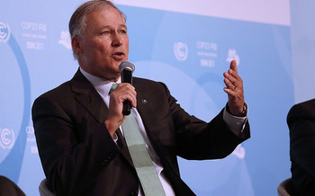 Washington Gov. Jay Inslee was the first presidential candidate to call for a climate-focused debate. (International Institute for Sustainable Development/Flickr)