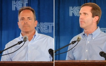 Gov. Matt Bevin and his challenger, Attorney General Andy Beshear, appear at this year's Fancy Farm Picnic. (Scott Wegenast)