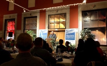 Sen. Jon Tester, D-Mont., gave the keynote speech at Montana Conservation Voters' 20th anniversary celebration. (Montana Conservation Voters)
