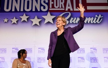 Sen. Elizabeth Warren, D-Mass., speaks at a presidential forum hosted by the Service Employees International Union. (Facebook)