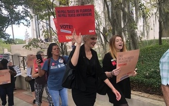 A coalition of Florida organizations rallies in Tallahassee against Senate Bill 7066, which stipulates all prison-related fines must be paid before a person's voting rights can be restored. (Trimmel Gomes)