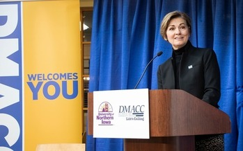 Iowa Gov. Kim Reynolds says the new partnership between Des Moines Area Community College and the University of Northern Iowa will increase access to higher education. (dmacc.edu)