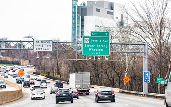 Maryland Gov. Larry Hogan's plan to reduce greenhouse-gas emissions in the state includes a controversial proposal to widen the Capital Beltway and add toll lanes. (Adobe Stock)