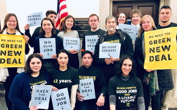 Members of the Sunrise Movement Virginia are pressing lawmakers to pass the state's Green New Deal Act. (Sunrise Movement Virginia)<br /><br />