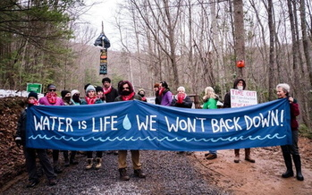 Members of Appalachians Against Pipelines protest against the Mountain View Pipeline in West Virginia in 2018. (Appalachians Against Pipelines/Facebook)