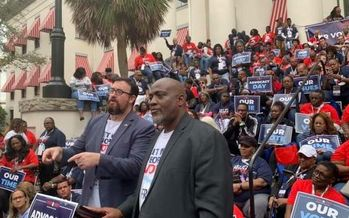 Desmond Meade, executive director of the Florida Rights Restoration Coalition (center right), rallied at Florida's Capitol with about 600 people calling for criminal justice reform. (FRRC)