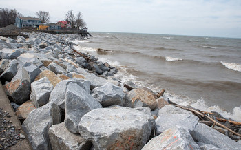 Heavy wave action, combined with Lake Erie's already high water level, continues to threaten the shoreline. (USACE/Flickr)