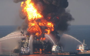 The BP Deepwater Horizon oil spill permanently damaged wetlands and continues to affect marine mammal populations. (U.S. Coast Guard)