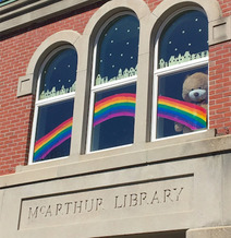 This rainbow was painted by a staff member and her two daughters shortly after the McArthur Library closed to the public on March 16. Buster the Bear is a new addition as well, looking out on Biddeford's Main Street. (McArthur Library)