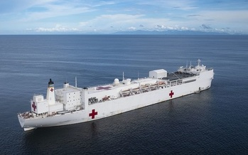 People with disabilities loaded hundreds of pallets of provisions on the USNS Comfort for its trip to New York. (U.S. Navy)