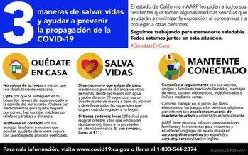 1.2 millones de personas mayores en California reciben esta tarjeta postal para ayudarles durante la pandemia. (AARP)
