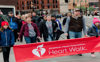 Brad Miller's family, above, takes part in the Twin Cities Heart Walk each year to honor his legacy. Family members will be among the many to participate in this year's virtual walk, which was forced to change formats in response to the coronavirus pandemic. (AHA)