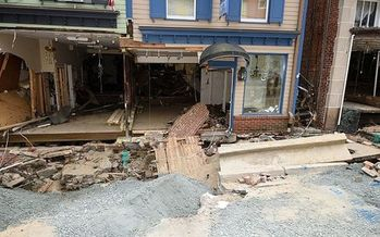 Businesses in Ellicott City, Md., still are struggling to repair damages from floods in 2016. (Wikimedia Commons)