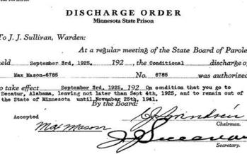 The prison discharge order of Max Mason, a black man whom many say was wrongly convicted of raping a white woman in Duluth in 1920. (Minnesota Historical Society)