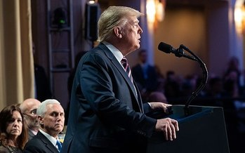President Trump at the 2020 National Prayer breakfast in February. (Official White House photo)