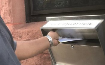 The new ballot drop-off boxes, bolted to the wall, provided an extra layer of security during the Connecticut primary. (Common Cause in Connecticut)