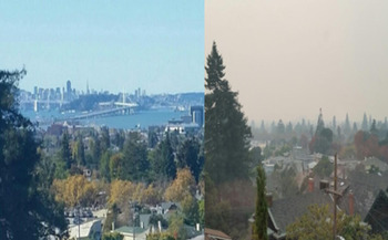 Two photos taken from the same East Bay window show the air-quality change in San Francisco Bay before and during the recent fires. (Janice Kirsch)