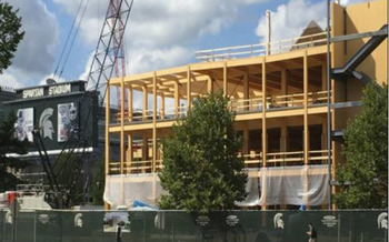 Michigan State University's STEM Teaching and Learning Center is the first building in the state to use mass timber for its load-bearing structure. (MSU)