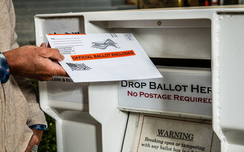 Mail-in ballot drop boxes in Fairfax County, Va., are being monitored by security cameras to ensure safe voting. (Adobe Stock)