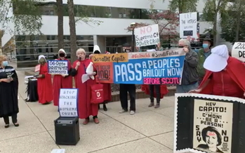 Members of a West Virginia NOW group rally in Charleston, saying the Senate should have waited until after the election to push through a Supreme Court nominee. (Kanawha Valley NOW Facebook page)