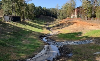 Engineers recently restored an unnamed stream on the campus of Methodist University in Fayetteville, N.C. (Paula Worden)