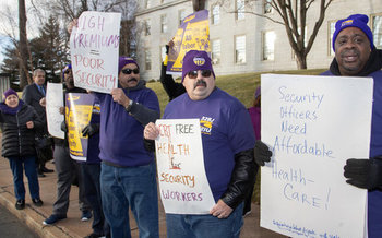 Before the pandemic, security workers rallied in front of the Statehouse for better health insurance. (32BJ SEIU)