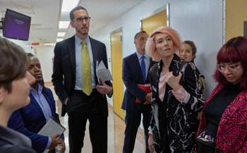 Sen. Scott Wiener and advocates for intersex Californians met at the state Capitol, pre-COVID, last year. (Eler de Grey)