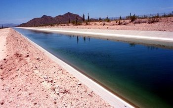 The Central Arizona Project uses a network of hundreds of miles of pipelines and canals to distribute water from the Colorado River Basin to customers across the state. (U.S. Bureau of Reclamation)