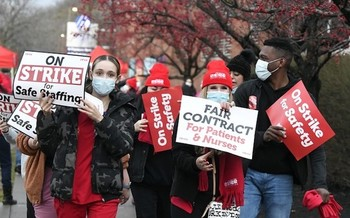 In December, Albany Medical Center nurses staged a one-day walkout over their concerns about working conditions. (NYSNA)