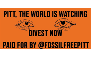 University of Pittsburgh students and allies unveil a billboard, which calls on the school's trustees to divest from fossil fuels. (Photo credit: FossilFreePitt)
