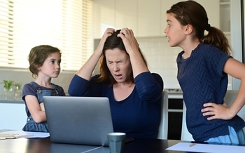 Experts are concerned that many parents haven't been equipped in the pandemic to cope with the stress of working at home while their children are learning from home. (Rafael Ben-Ari/Adobe Stock)
