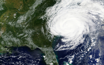 Hurricane Florence lands on North Carolina's coast in 2018. Statewide, the storm caused 39 deaths and billions of dollars in damage. (Adobe Stock)<br />