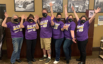 Three years in the making, the bargaining team for workers at Providence Milwaukie Hospital are celebrating their first contract. (SEIU Local 49)