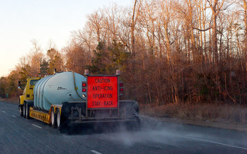 Ohio is among roughly a dozen states that allow brine waste from the energy industry to be used to melt ice on roadways. (NCDOTCommunications/Flickr)