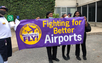 Philadelphia International Airport currently has a minimum wage of $12.40 an hour for its non-union workers, compared to Newark International's $16.20 an hour. (32BJ SEIU)<br />