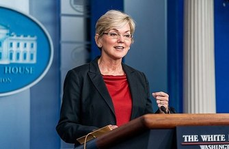 Energy Secretary Jennifer Granholm addresses reporters at the White House earlier this year. (Cameron Smith/Wikimedia Commons)