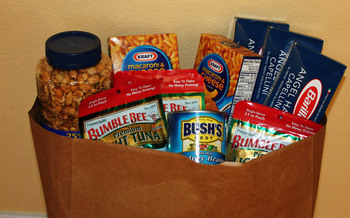 PHOTO: food ready to be donated. Photo Credit: Deborah Smith