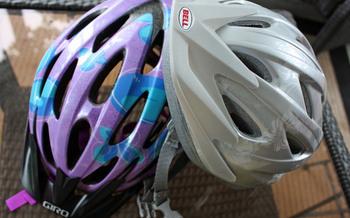 PHOTO: Bicycle helmets. Photo Credit: Deborah Smith