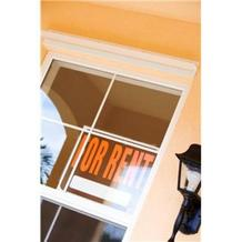 PHOTO: For rent sign in home window.