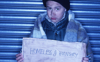 PHOTO: Homeless and hungry child.