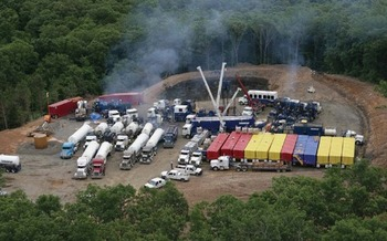 Truck usage at a typical fracking site. Photo courtesy U.S.D.O.I.