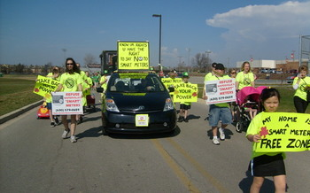 PHOTO: A protest by the Naperville Smart Meter Awareness Group.