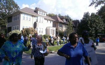 PHOTO: Residents protesting foreclosures. Photo credit: ESOP