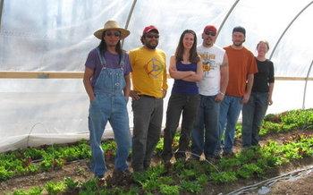 PHOTO: Agri-Cultura Network (L-R) Fidel Gonzalez, Patrick Staib-Flores, Sayrah Namaste, Joseph Alfaro, Jeff Warren, Angelina Lopez. Photo credit: Sayrah Namaste.