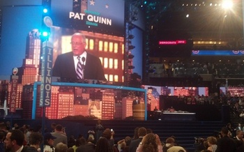 PHOTO: Gov. Pat Quinn addressing the Democratic National Convention. Photo credit: Stephanie Carroll Carson.
