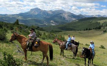 PHOTO: Horseback riding along the Rocky Mountain Front. Courtesy of Headwaters Economics.