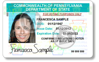 PHOTO: Example of the PA voter ID card.