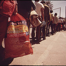 Farm workers who were picked up by the border patrol in California for illegal entry in May, 1972 COURTESY: National Archives